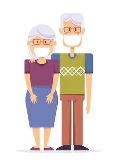 老人、ウイルスを防ぐための保護医療マスクを身に着けている老婦人。
