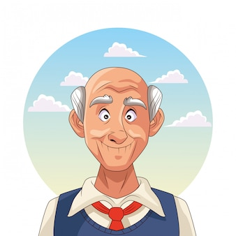 Old man patient of alzheimer disease character