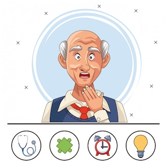 Old man patient of alzheimer disease with elements set