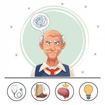 Old man patient of alzheimer disease with icons set