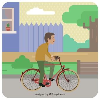 Vecchio, guida, bicicletta, piatto, disegno
