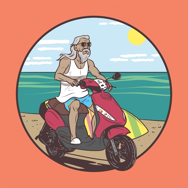 Old man riding in summer