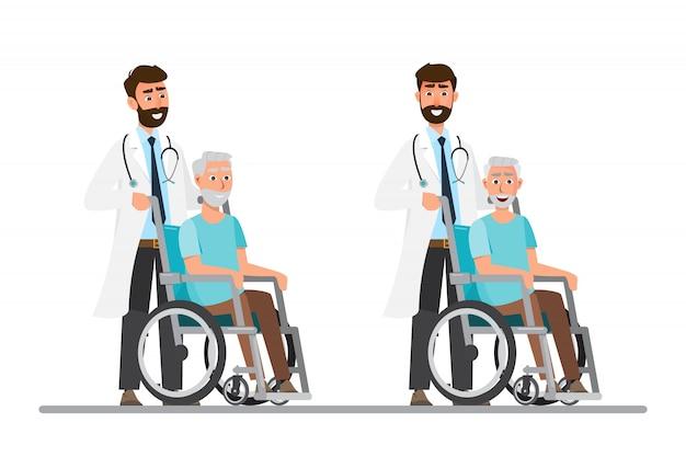 Старик сидят на инвалидной коляске с врачом