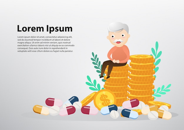 Old man sitting on coins, business and health care concept.