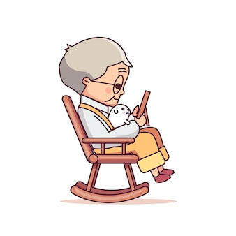 Old man sitting in rocking chair cute    illustration