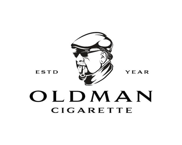 Old man smoke cigarette with pipe logo vintage