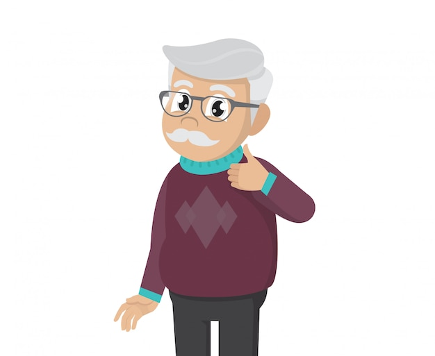 Old man to thumb up illustration