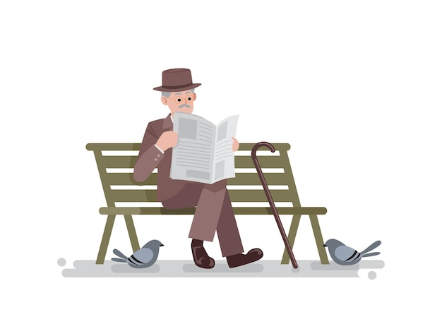 Old man in vintage suit sitting on bench with reading newspaper, vector illustration