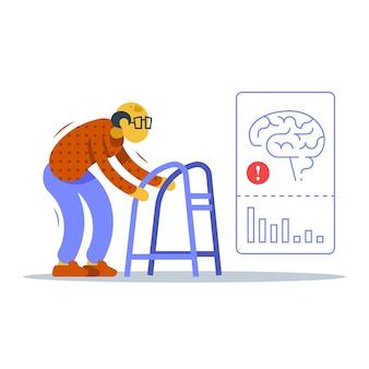 짐머 프레임을 들고 걷는 노인, 악수와 몸, 불안정한 움직임, 알츠하이머 병 치료, 뇌 외상 또는 질병