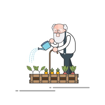 Old man watering his plants