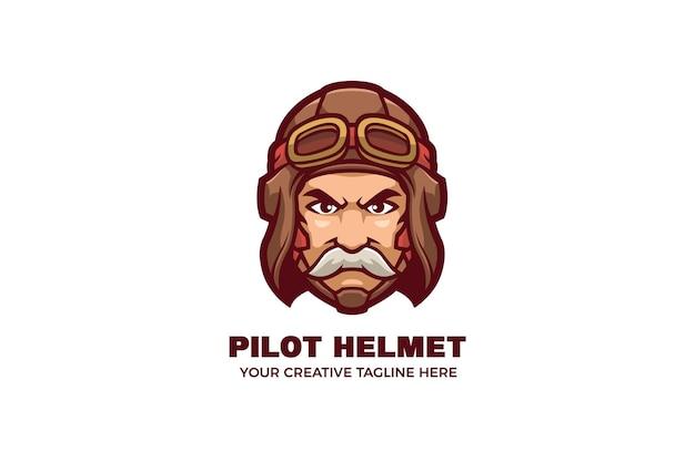 Old man wear vintage pilot helmet mascot logo template