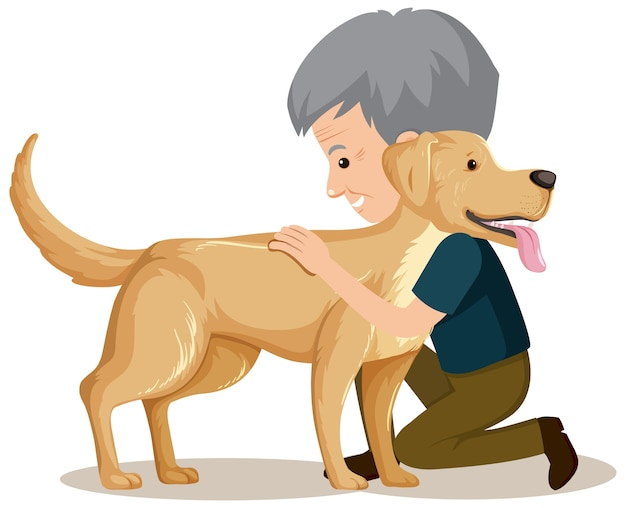 Старик с милой собакой на белом фоне