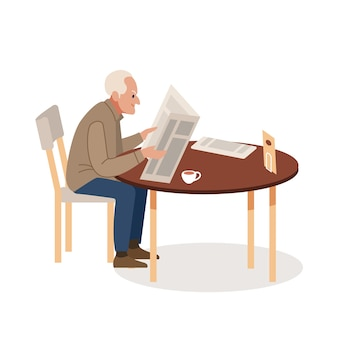 Old man with newspaper and coffee