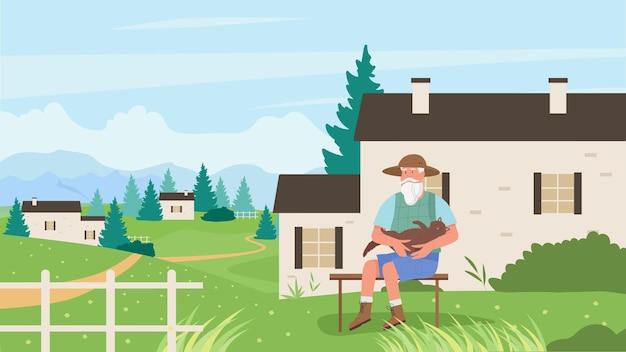 ペット猫ベクトルイラストと老人。家の庭や公園の屋外のベンチに座って、自分の子猫を抱き締める漫画の年配の男性キャラクター