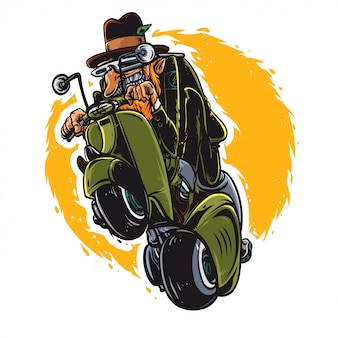 Old man with scooter Premium Vector