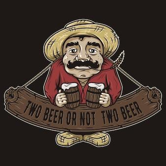 맥주 상징의 두 파인트와 노인