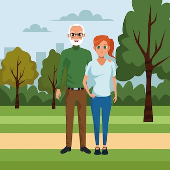 Old man and woman in the park