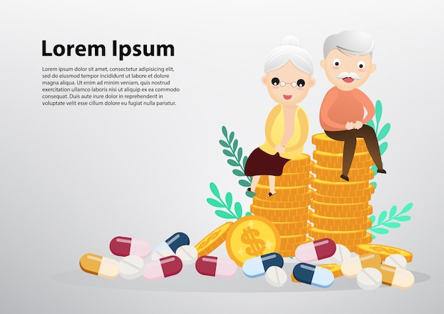 Old man and woman sitting on coins, business and health care concept.