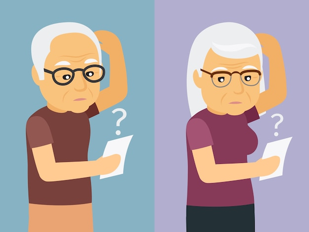 Old man and woman thinking illustration