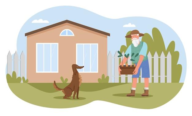 家の農場の庭のイラストで働く老人。