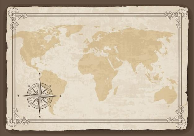 古い紙のテクスチャにレトロな航海コンパスと古いマップフレーム。手描きのアンティーク航海古い。