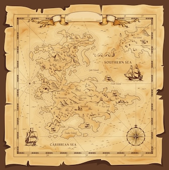 Old map, vector worn parchment with caribbean and southern sea, ships, islands and land