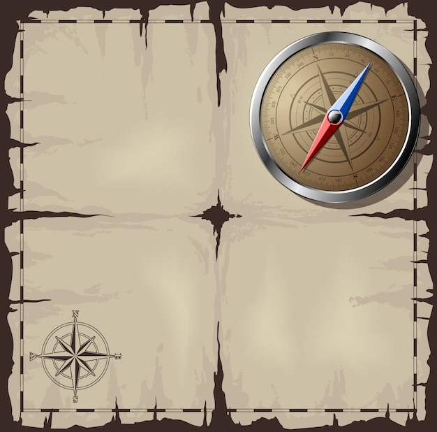 Old map with steel compass