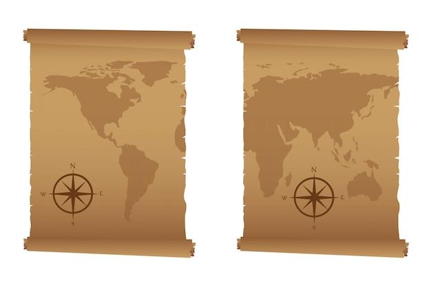 Старые карты с компасом выросли на белом фоне вектор