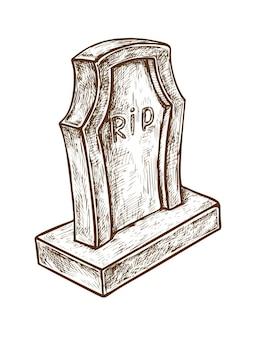 흰색 배경에 rip 제목이 있는 오래된 대리석 묘비