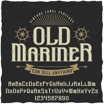Il vecchio poster vintage mariner con la scritta può vendere qualsiasi illustrazione