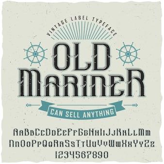 Poster vintage vecchio marinaio