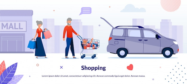 Old married couple shopping in supermarket illustration