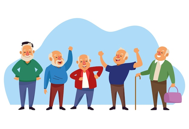 Old men group active seniors characters.