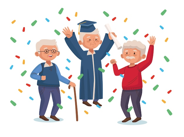 Old men group with confetti active seniors characters