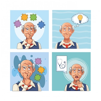 Old men patients of alzheimer disease characters