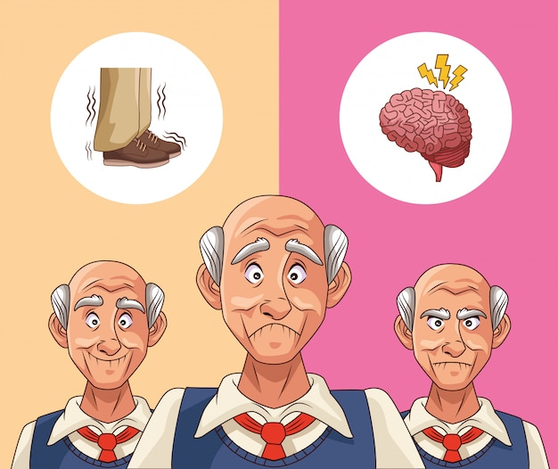 Old men patients of alzheimer disease thinking shoes and brain