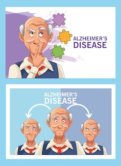 Old men patients of alzheimer disease with puzzle pieces