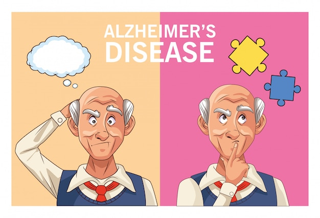 Old men patients of alzheimer disease with speech bubble and puzzle pieces