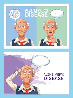 Old men patients of alzheimer disease with speech bubbles