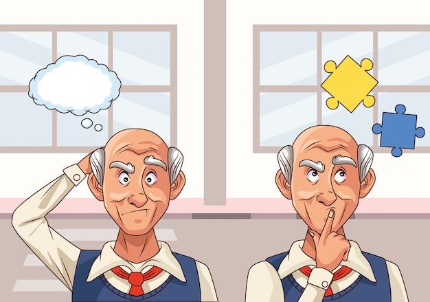 Старики пациенты с болезнью альцгеймера с кусочками головоломки