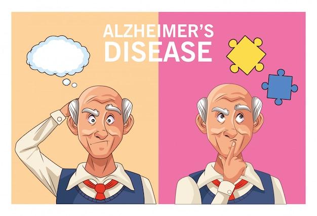 연설 거품과 퍼즐 조각 알츠하이머 병 노인 환자