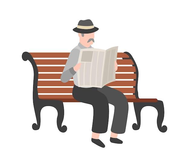 야외에서 신문을 읽는 노인, 모자와 양복에 콧수염을 기른 할아버지, 벤치에 앉아 있는 신사, 공원에서 산책. 평면 벡터 고립 된 만화 캐릭터