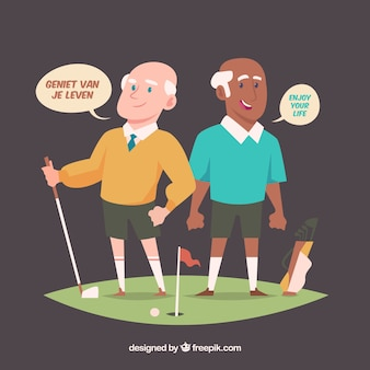 Old men speaking different languages with flat design