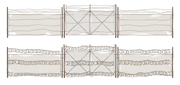 Old metal chain link fence with gate and barbwire