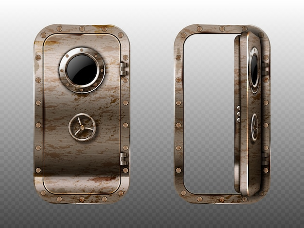 Old metal door with porthole, rusty submarine or bunker close and open entrance. ship or secret laboratory steel bulletproof doorway with illuminator and rotary valve lock wheel realistic 3d vector