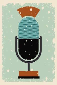 Старый постер с микрофоном