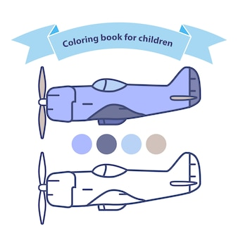 Old military aircraft fighter american coloring book for children