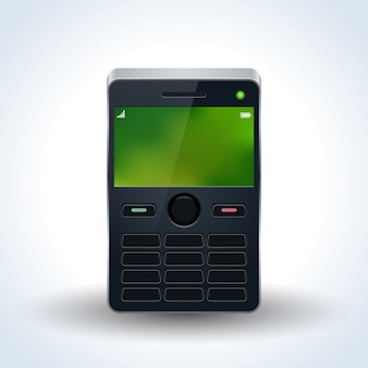 Old mobile phone realistic vector illustration