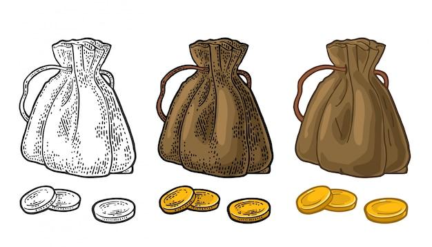 동전과 오래 된 돈 가방입니다.