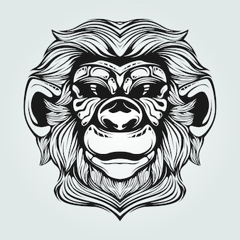 Old monkey line art with decorative face